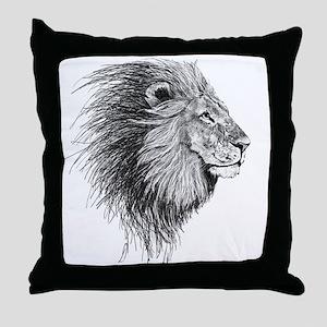 Lion (Black and White) Throw Pillow