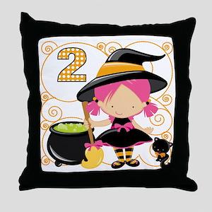 Girls Halloween 2 Throw Pillow