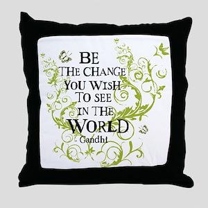 Be the Change - Green - Light Throw Pillow