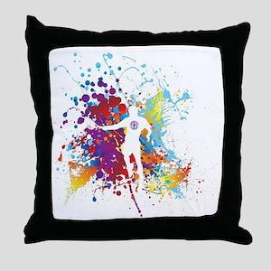 Color Splash Tennis Tshirt Throw Pillow