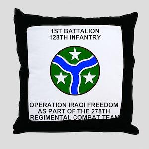 ARNG-128th-Infantry-1st-Bn-Iraq-Shirt Throw Pillow