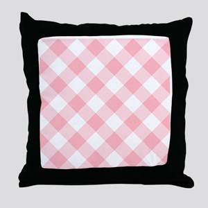 Light Pink and White Gingham Throw Pillow