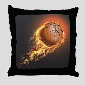Flaming Basketball Throw Pillow