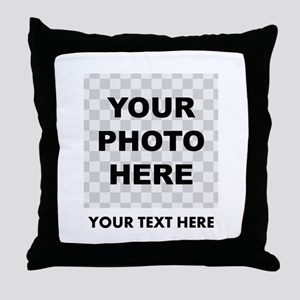 Your Photo And Text Throw Pillow
