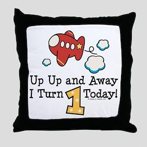 1st Birthday Airplane Throw Pillow