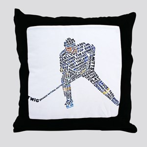 Hockey Player Typography Throw Pillow