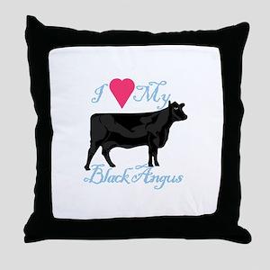 I Love My Black Angus Throw Pillow
