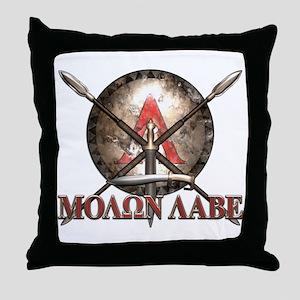 Molon Labe - Spartan Shield and Swords Throw Pillo