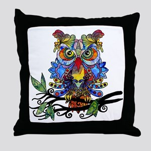 wild owl Throw Pillow