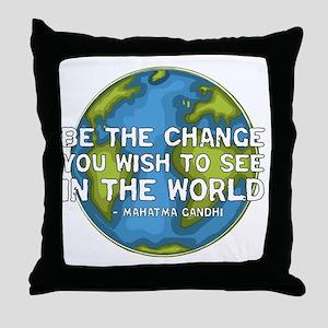 gandhi_earth_bethechange_dark Throw Pillow