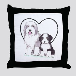 Bearded Collies Throw Pillow