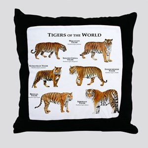 Tigers of the World Throw Pillow