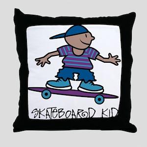 Skateboard Kid Throw Pillow