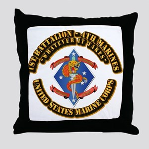 1st Bn - 4th Marines with Text Throw Pillow
