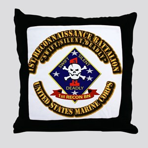 1st - Reconnaissance Bn With Text USMC Throw Pillo