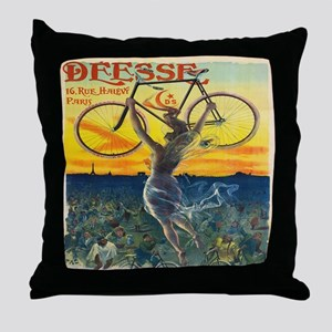 Vintage Paris Fairy Bicycle Throw Pillow