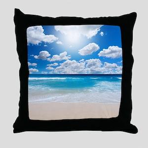 Sunny Beach Throw Pillow