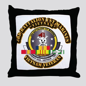 SSI - 3rd Bn - 1st Marines w VN SVC Ribbon Throw P