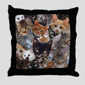 Kitty Collage Throw Pillow