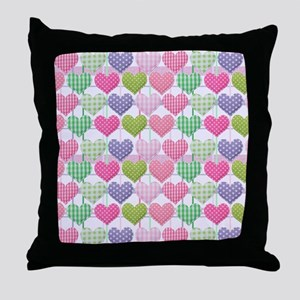 Gingham Hearts Pastel Pattern Throw Pillow