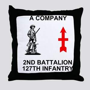 ARNG-127th-Infantry-A-Co-Shirt-4-Blac Throw Pillow