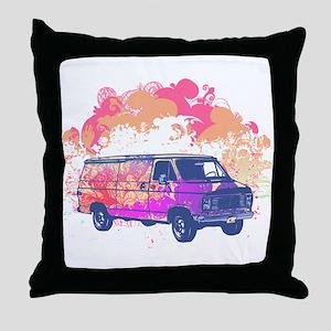 Retro Hippie Van Grunge Style Throw Pillow