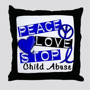 Peace Love Stop Child Abuse 1 Throw Pillow