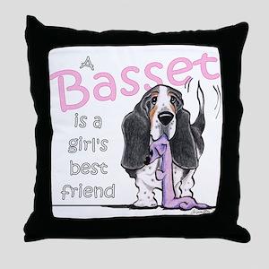 Basset Girls Friend Throw Pillow