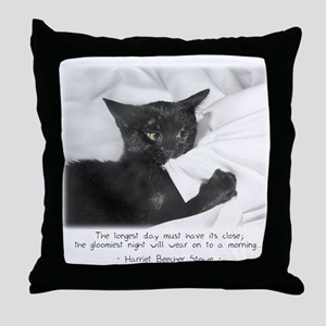 Optimistic Cat-And-Quote Throw Pillow