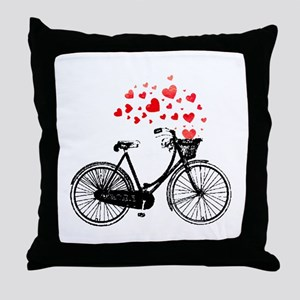 Vintage Bike with Hearts Throw Pillow
