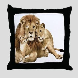 Lion And Cubs Throw Pillow
