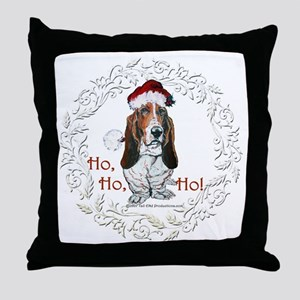 Basset Hound Christmas Throw Pillow