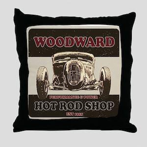 Woodward Hot Rod Shop Throw Pillow