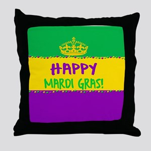 Happy Mardi Gras Crown and Beads Throw Pillow