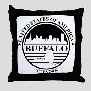 Buffalo logo white and black Throw Pillow