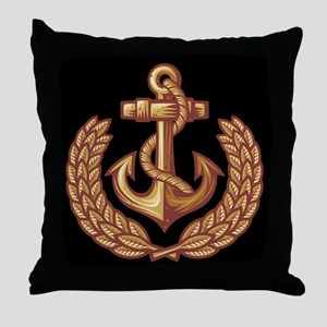 Black and Orange Anchor Throw Pillow