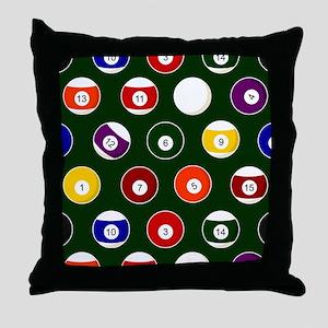 Green Pool Ball Billiards Pattern Throw Pillow