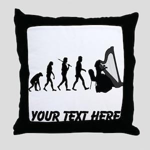 Harp Player Evolution (Custom) Throw Pillow