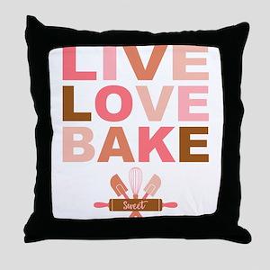 Live Love Bake Throw Pillow