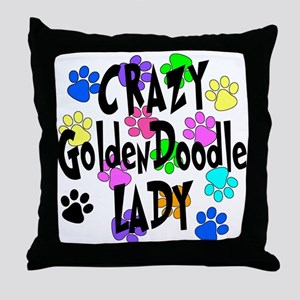 Crazy Goldenddoodle Lady Throw Pillow