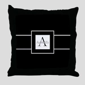 Black White Monogram Personalized Throw Pillow