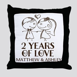 2nd Wedding Anniversary Personalized Throw Pillow