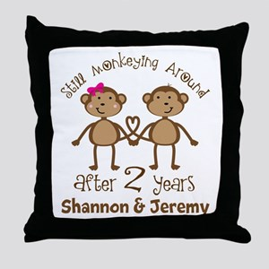 Funny 2nd Anniversary Personalized Throw Pillow