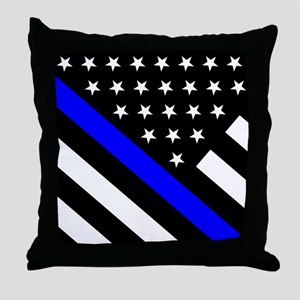 Police Flag: Thin Blue Line Throw Pillow