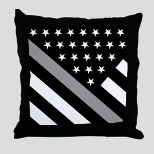 U.S. Flag: The Thin Grey Line Throw Pillow