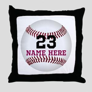 Baseball Player Name Number Throw Pillow