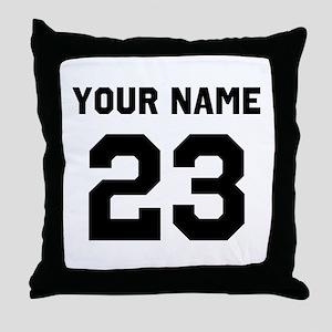 Customize sports jersey number Throw Pillow