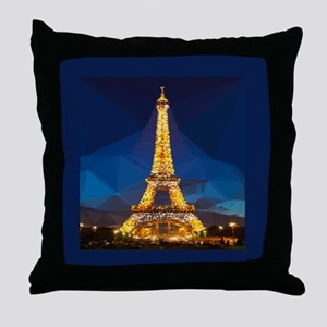 Eiffel Tower Blue Gold Low Poly Throw Pillow