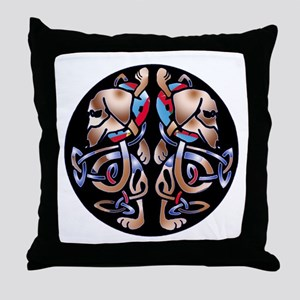 Irish Celtic Double Dachshund Dogs Throw Pillow