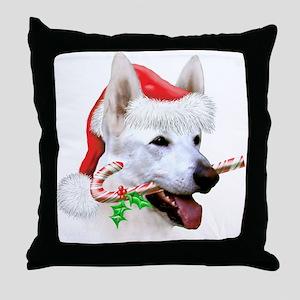 White German Shepherd Christmas Throw Pillow